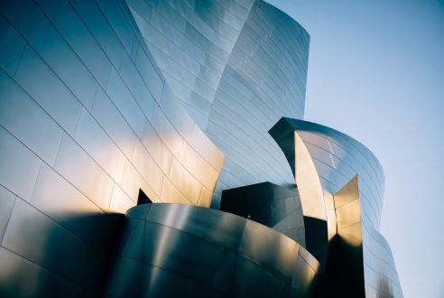 The Glossy Steel Facade of the Walt Disney Concert Hall