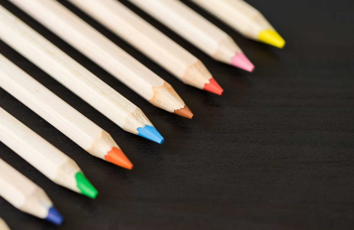 Colored Pencils in a Row with Room for Text