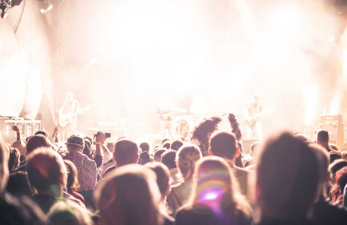 Crowds of Party People Enjoying a Live Concert